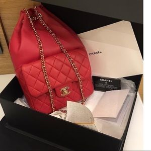 Chanel backpack red